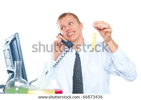 Happy man scientist - stock photo