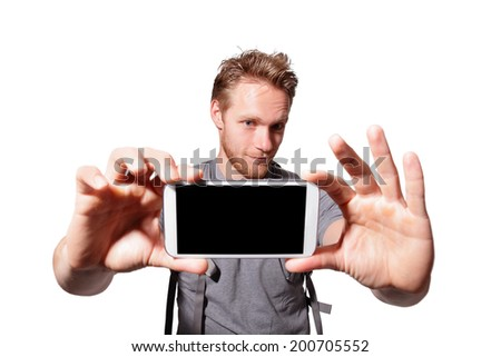 happy man selfie by smart phone isolated on white background, caucasian - stock photo