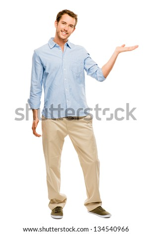 happy man showing empty copy space portrait white background - stock photo
