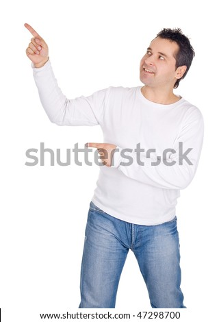 Happy man showing something on the palm of his hands - stock photo