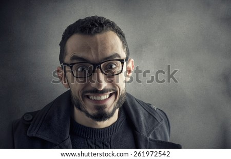 Happy Man Smily in a silly way  - stock photo