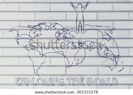 Happy man standing on world map stock illustration 301155278 happy man standing on world map with travel itinerary concept of exploring the world gumiabroncs Choice Image