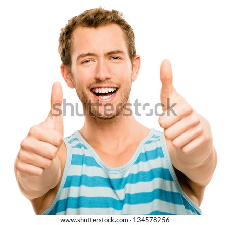 happy man thumbs up isolated white background