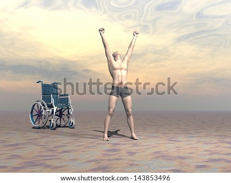 Happy man up from a wheelchair and manifesting hapiness to the sky with both arms up by sunset light - stock photo