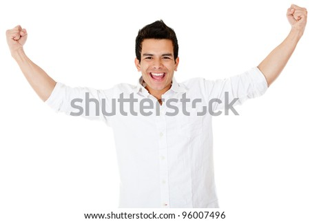 Happy man with arms up and smiling - isolated over a white background - stock photo
