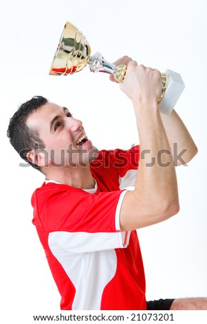 Happy man with cup. He's looking on cup. - stock photo