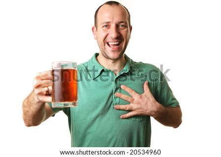 Happy man with glass of beer, isolated on white. - stock photo