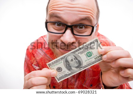 Happy man with hundred dollar bill isolated on white