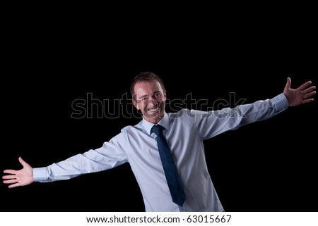 happy  man with open arms, isolated on white, studio shot - stock photo