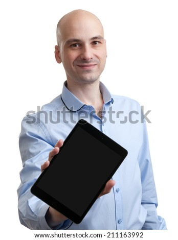 Happy man with tablet computer isolated over white