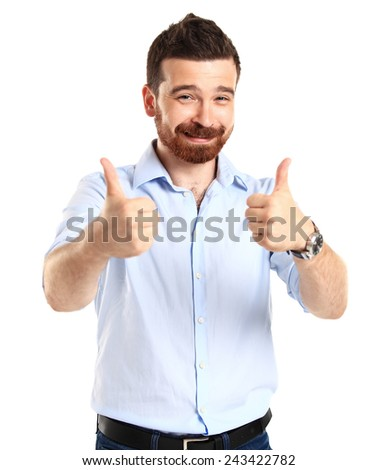 Happy man with thumbs up gesture, isolated on white  - stock photo