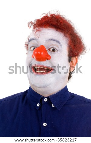 Happy man with white face and clown nose