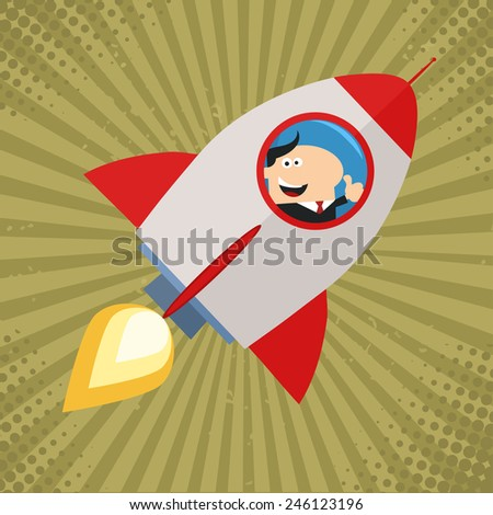Happy Manager Launching A Rocket And Giving Thumb Up.Flat Style Raster Illustration - stock photo