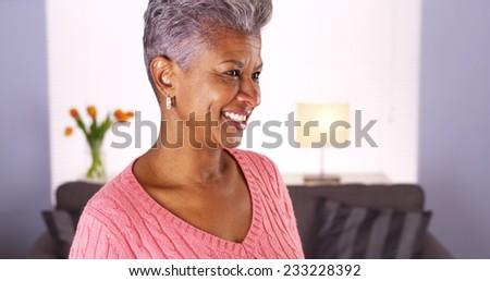 Happy mature black woman - stock photo