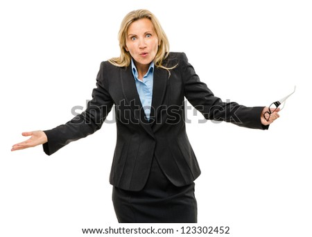 Happy mature business woman isolated on white background - stock photo