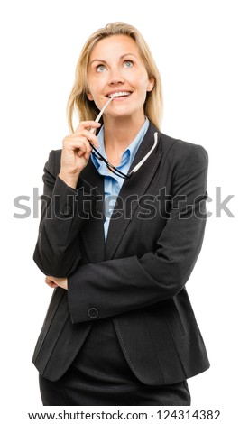 Happy mature business woman thinking isolated on white background