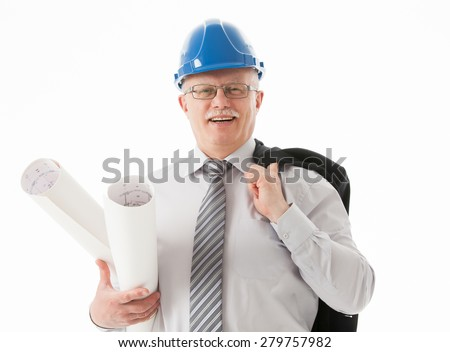 Happy mature businessman in a blue helmet holding projects, white background - stock photo