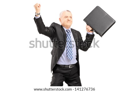 Happy mature businessman with briefcase gesturing happiness isolated on white background