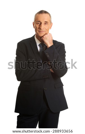 Happy mature businessman with hand under chin. - stock photo