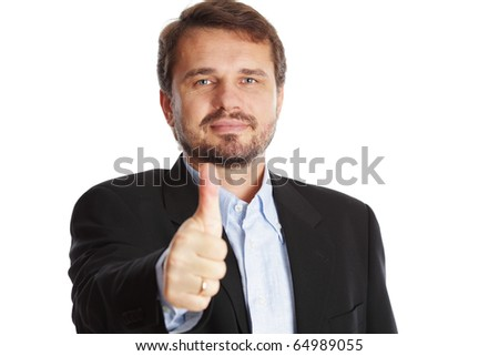 Happy mature businessman with thumbs up - stock photo