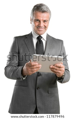 Happy mature businessman working with modern tablet isolated on white background
