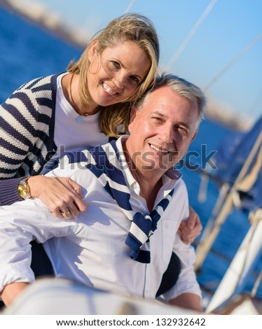 Happy Mature Couple On Ship - stock photo