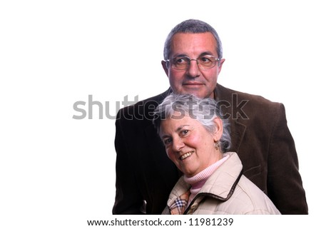 happy mature couple over white background - stock photo