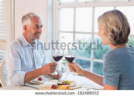 Happy mature couple toasting drinks over food by the window at home