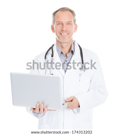 Happy Mature Doctor Using Laptop Over White Background