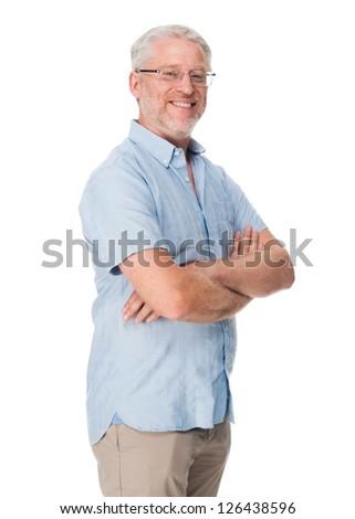 Happy mature man portrait isolated on white background - stock photo