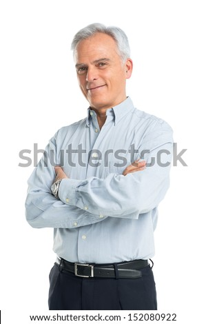 Happy Mature Man With Arms Crossed - stock photo
