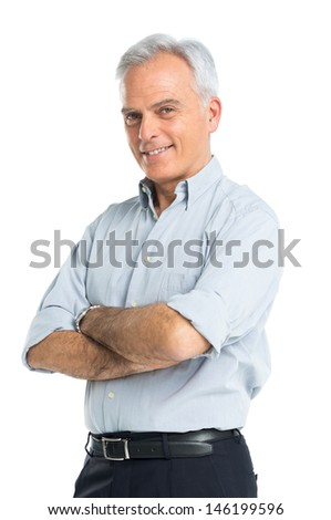 Happy Mature Man With Hands Folded Isolated On White Background - stock photo
