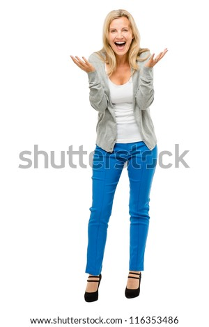 Happy mature woman is excited isolated on white background - stock photo