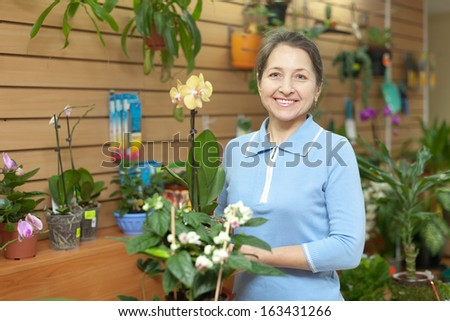 Happy mature woman with Phalaenopsis in pot at flower store - stock photo