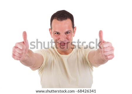 happy men with thumbs up, isolated on white background, Studio shot - stock photo