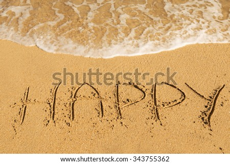 Happy message on the beach sand - vacation and travel concept - stock photo