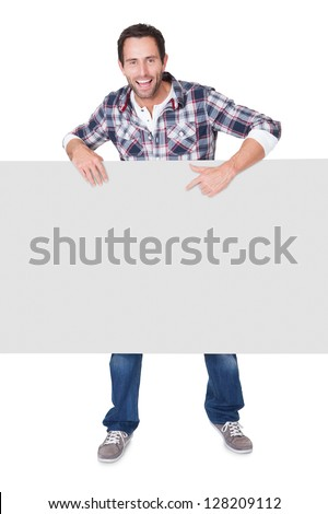 Happy middle age man presenting empty banner. Isolated on white - stock photo