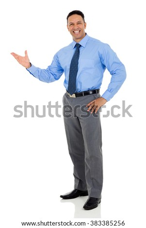 happy middle aged businessman presenting on white background - stock photo