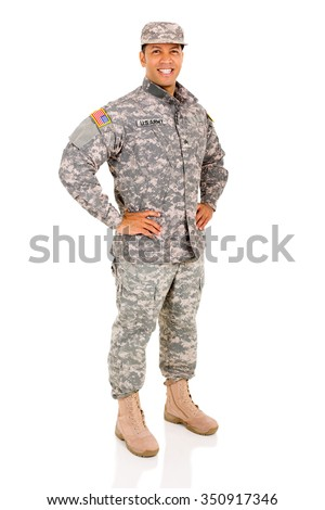 happy military serviceman posing isolated on white - stock photo