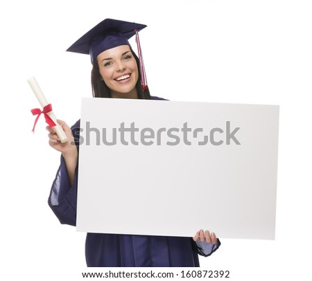 Happy Mixed Race Female Graduate in Cap and Gown Holding Blank Sign and Diploma Isolated on White. - stock photo