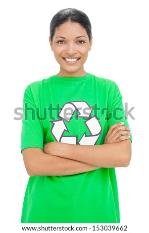 Happy model wearing recycling tshirt posing on white background - stock photo