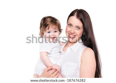 Happy mom and baby, happy family - stock photo