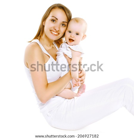 Happy mom and baby having fun - stock photo