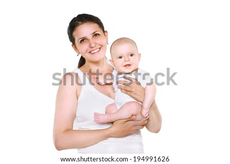 Happy mom and baby on a white background - stock photo