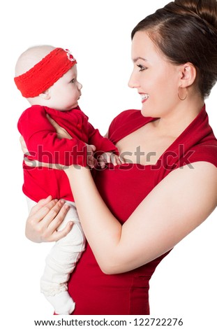 Happy mom and child girl hugging and laughing  on isolated white background