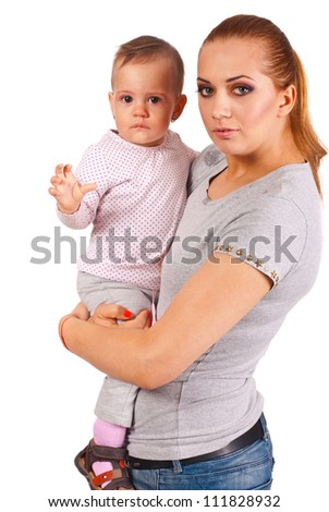 Happy mom holding her crying baby girl isolated on white background - stock photo