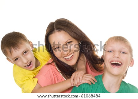 happy mom with her two children