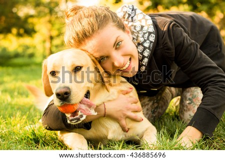 Happy moment with my dog  - stock photo