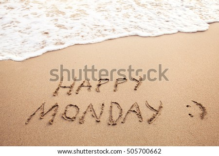 Happy monday greeting card on sandy stock photo royalty free happy monday greeting card on the sandy beach m4hsunfo Image collections