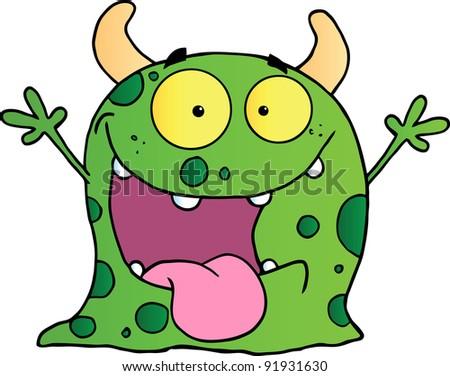 Happy Monster Cartoon Character - stock photo